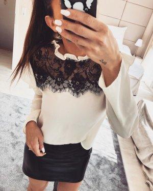 Zara Blouse en dentelle blanc-noir
