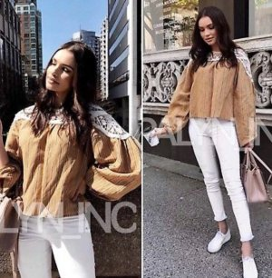 Zara Blusa-camisa blanco-marrón arena