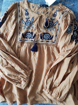 Zara Cuello de blusa azul oscuro-naranja dorado
