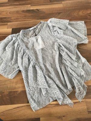 Zara Blusa de manga corta gris claro
