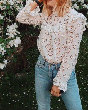 Zara Kanten blouse licht beige