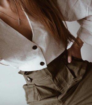 Zara Blusa-camisa gris claro