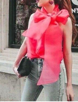 Zara bluse Oberteil Ss19 Fuchsia Organza Blouse Bluse mit Schleife  XL