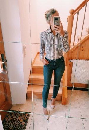 Zara Blusa de manga larga blanco-ocre