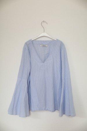 Zara Bluse Oversized Blau Hellblau Streifen Trompetenärmel Gr. M
