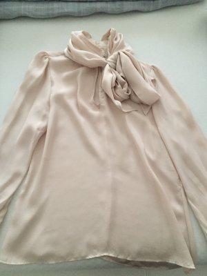 Zara Blusa collo a cravatta rosa pallido