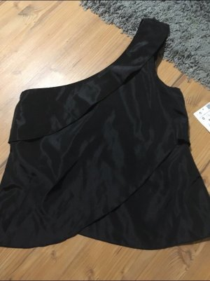 Zara Bluse schwarz Gr S Neu one Shoulder