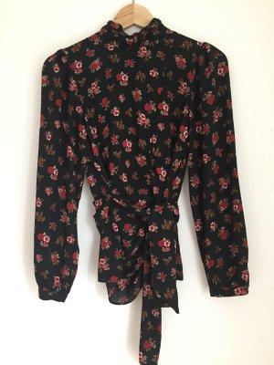 Zara Bluse, schwarz mit Blütenmuster, XS