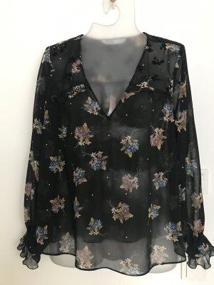 Zara Bluse schwarz transparent Blumendruck