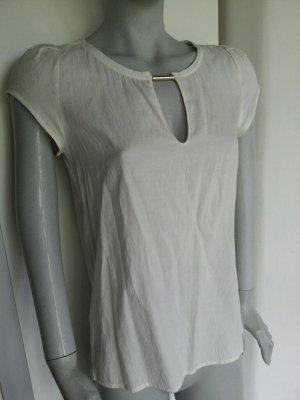 Zara Bluse Shirt Top Oberteil creme weiss Kurzarm S 36