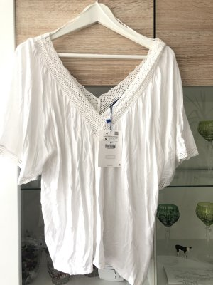 Zara Gehaakt shirt wit