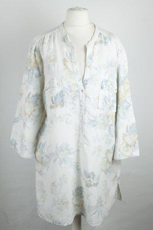Zara Bluse Tunika Gr. XL weiß hellblau Blumen
