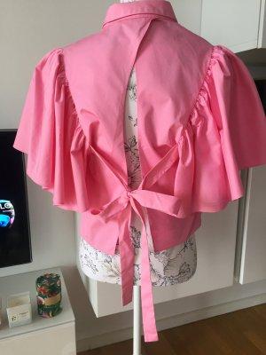 Zara Bluse Volant Gr L rosa rückenfrei NEU