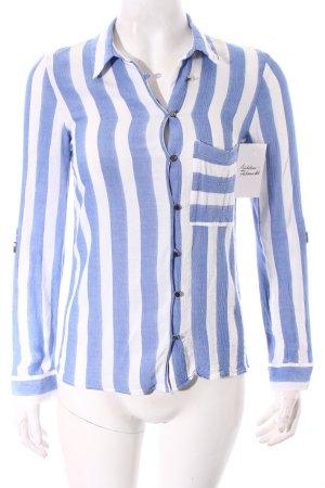 Zara Bluse weiß-blau Streifenmuster Marine-Look
