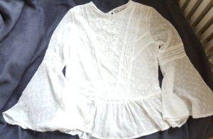 Zara bluse Weiß Blogger mit Volant