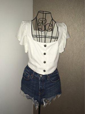 Zara Camicetta con arricciature bianco-bianco sporco Cotone