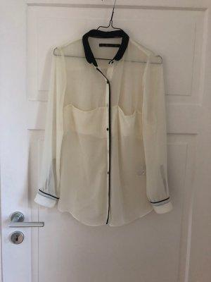 Zara Bluse Weiß Schwarz durchsichtig transparent Shirt Top Business Casual