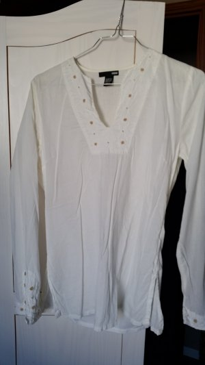 H&M Long Sleeve Blouse natural white cotton