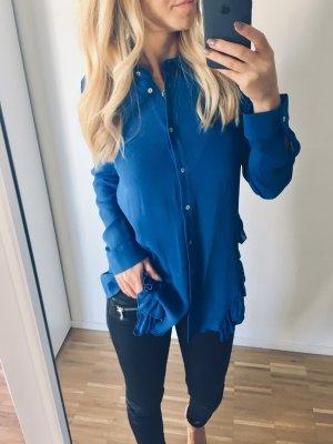 Zara Bluse XS 34 Blau Rüschen lang