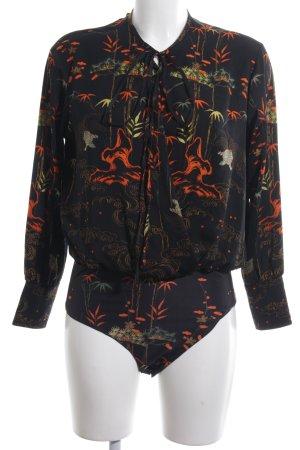 Zara Bodyblouse zwart volledige print elegant