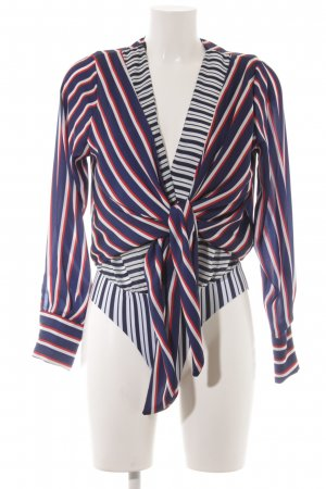 Zara Bodysuit Blouse striped pattern wet-look