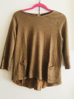 Zara Blouse à manches longues brun sable-doré