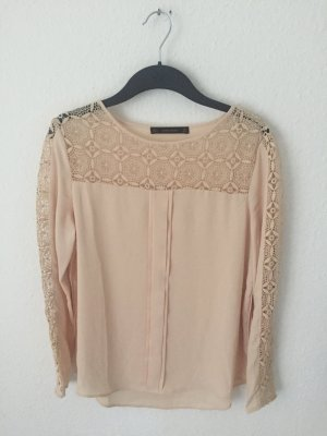 Zara Blouse à manches longues rose chair polyester