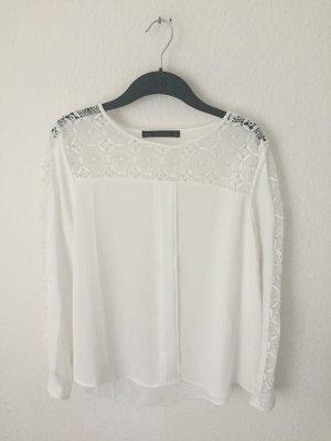 Zara Blusen Shirt mit Spitzen Details Weiß