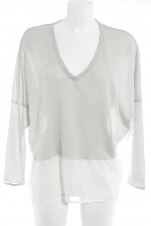 Zara Empiècement de blouses gris clair-blanc style décontracté