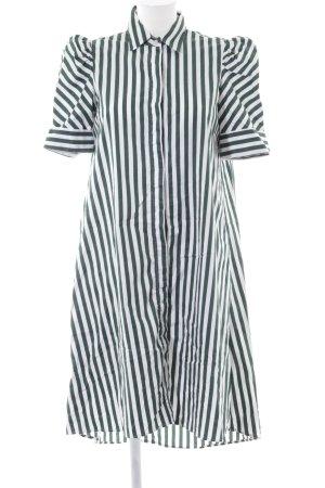Zara Blusenkleid dunkelgrün-weiß Streifenmuster Casual-Look