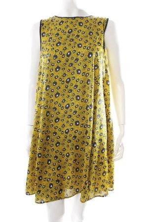 Zara Blusenkleid gelb-dunkelblau Allover-Druck Eleganz-Look
