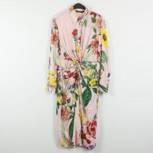 Zara Blusenkleid Gr. XL rosa weiß gestreift Blumenmuster (19/02/268)