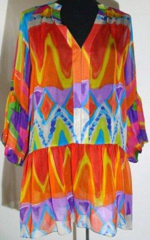 Zara Woman Robe tunique multicolore soie