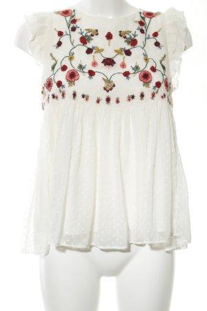 Zara Blusentop weiß-rot Blumenmuster Casual-Look