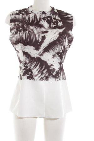 Zara Camisa de mujer marrón-blanco estampado con diseño abstracto