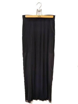 Zara, bodenlanger schwarzer halbtransparenter Maxirock Plissee