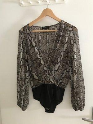 Zara Blusa tipo body negro-taupe
