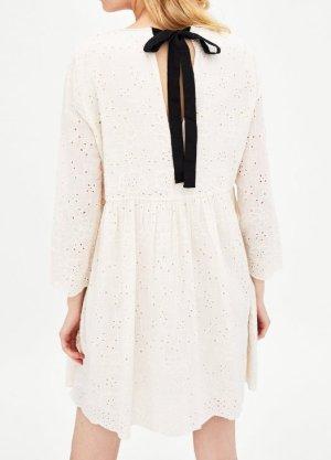 Zara Boho Kleid Tunika weiss creme bestickt Stickerei Lochstickerei Schleife hinten S M L
