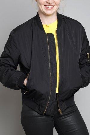Zara Bomberjacke Bomber Piloten Jacke schwarz nude S 36 gold Reissverschluss Basic Satin