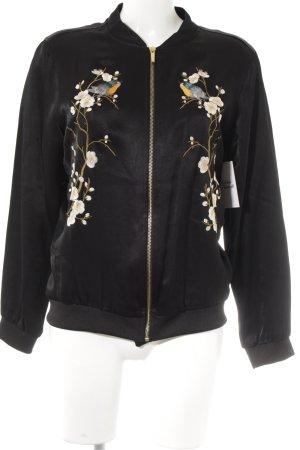 Zara Bomberjacke schwarz-weiß Blumenmuster Casual-Look