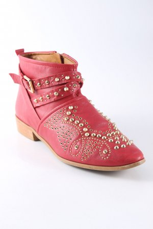 Zara Booties ziegelrot-goldfarben Street-Fashion-Look