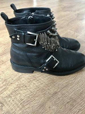 ZARA Boots Booties Stiefeletten Schwarz Silber Nieten Ketten 37 Leder Blogger