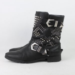 Zara Woman Booties black-silver-colored leather