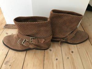 ZARA Boots, Gr. 39, braun/dunkelbraun, Wildleder, NEU!