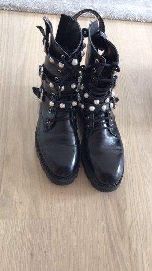 Zara Low boot noir-beige clair