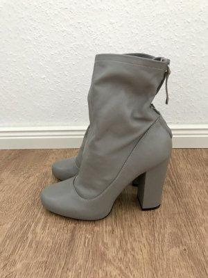 ZARA Boots Stiefel Stiefeletten Booties Grau Leder 37 Blogger