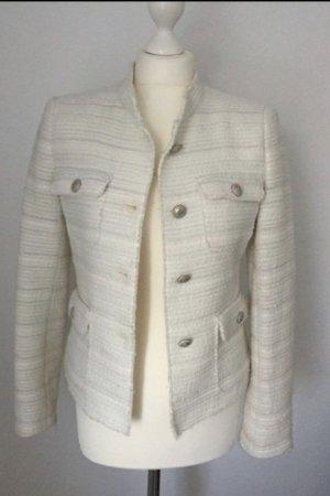 Zara Boucle Blazer Gr. 36 weiß mit silber Hardware