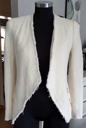 Zara boucle Blazer Jacke creme-weiß XS (S)