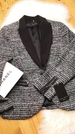 Zara Boucle' Blazer mit Smokingkragen   Lurex   im Chanelstyle Neu mit Etikett Gr S