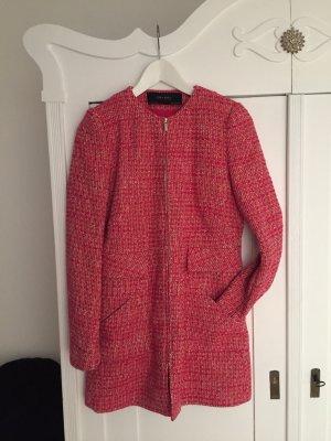 Zara Basic Abrigo corto rojo-rosa